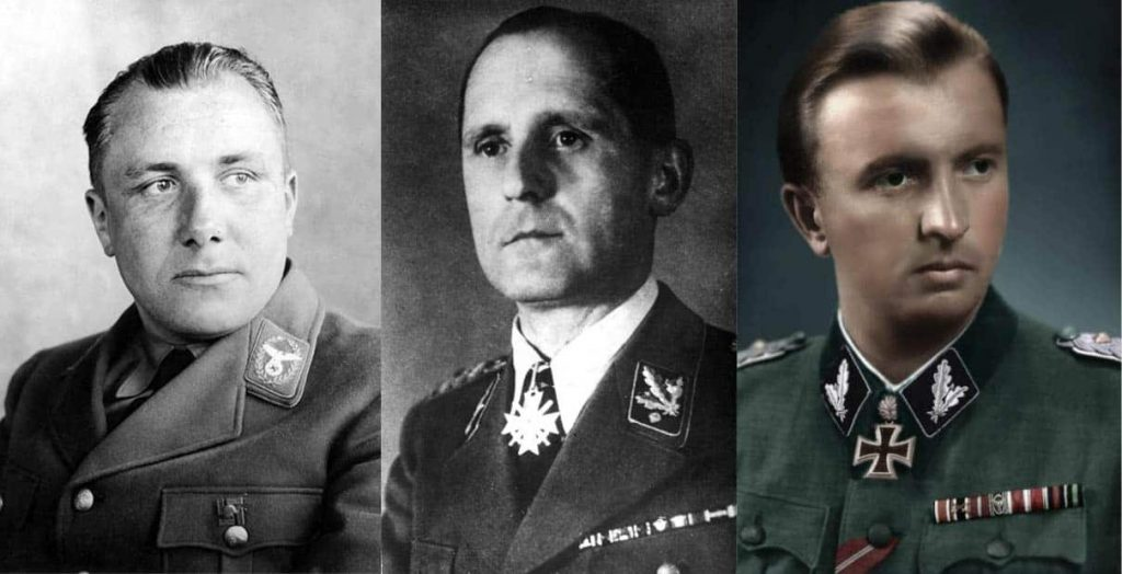 Рейхслейтер Мартин Борман, шеф гестапо Генрих Мюллер и офицер СС Герман Фегелейн
